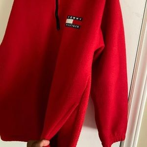 Xtra Large Red Tommy Hilfiger Quarter-Zip Pullover
